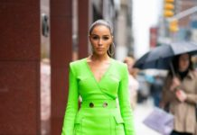 Olivia Culpo in Green Mini Dress – Out in New York