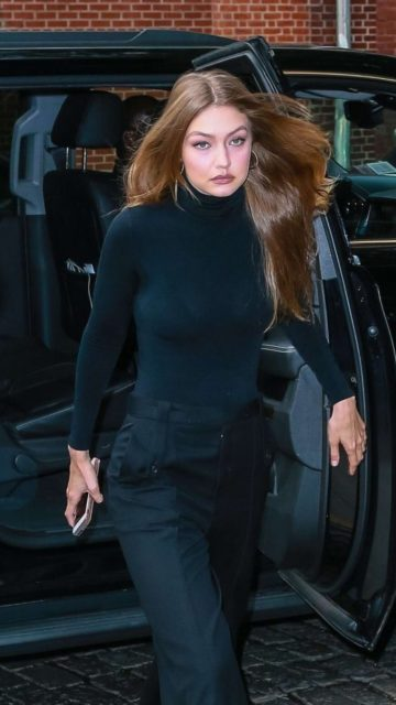 Gigi Hadid in Black Outfit – Out for an event in NYC