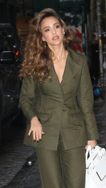 Jessica Alba in a Pee Green Suit – New York City
