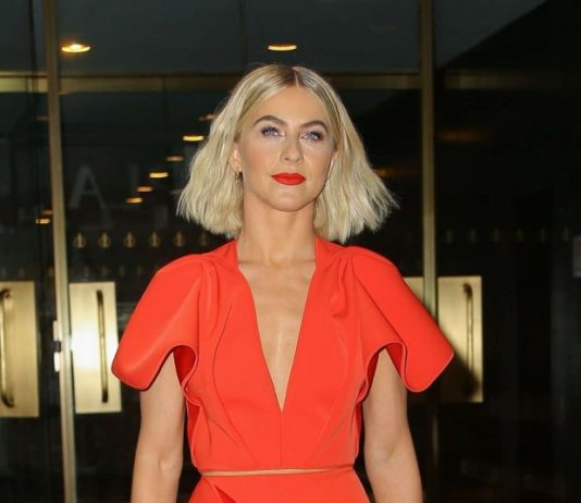 Julianne Hough in Red Dress – Arrives at NBCUniversal Upfront Presentation in NYC