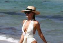 Keleigh Sperry in a White Swimsuit in Miami
