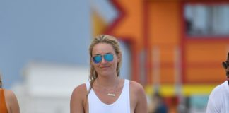 Lindsey Vonn in Swimsuit on the Beach in Miami