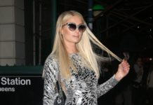 Paris Hilton in a Metallic Dress – Out in NYC
