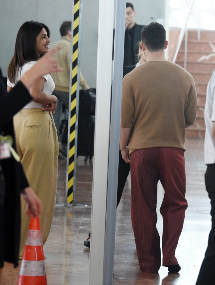 Priyanka Chopra and Nick Jona at the Airport in Nice