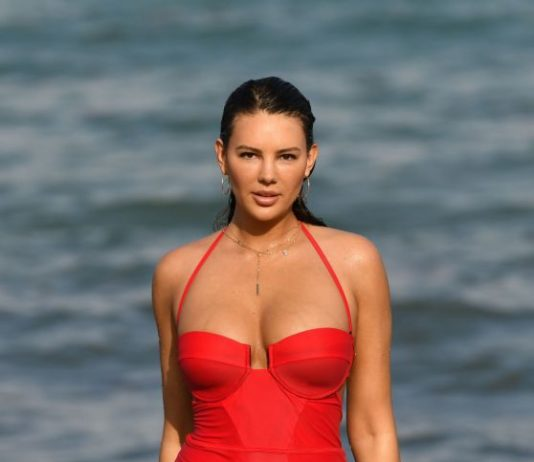 Zita Vass in a Red Swimsuit on Miami Beach