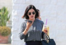 Lucy Hale in Spandex – Talking on Her Phone in LA