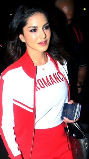 Sunny Leone in Travel Outfit at the Mumbai Airport