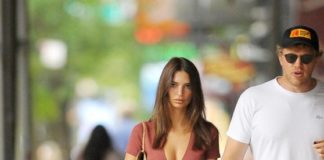 Emily Ratajkowski and Sebastian Bear-McClard Take Their Dog for a Walk in NYC