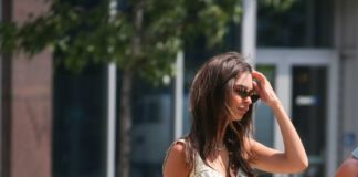 Emily Ratajkowski in Mini Dress – Walking Her Dog in NY