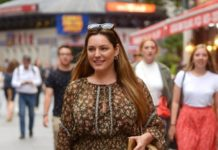 Kelly Brook in Mini Dress – London
