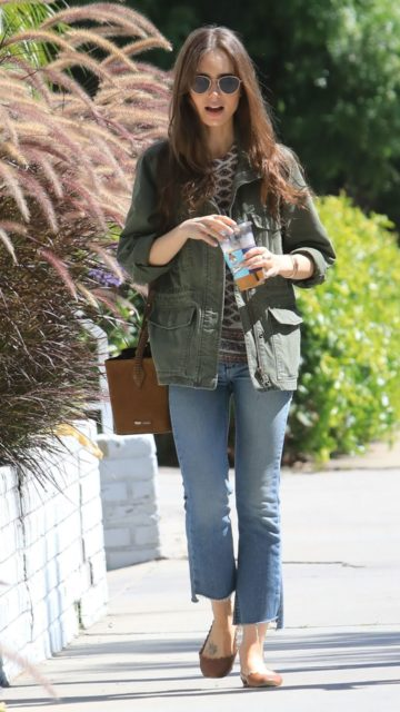 Lily Collins at Celeb Hotspot Alfred's in West Hollywood