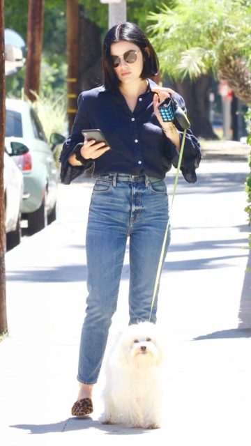 Lucy Hale – Takes Her Dog Out For a Walk in Studio City