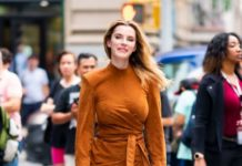 Betty Gilpin – Outside BUILD Studios in NYC
