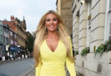 Christine McGuinness in a Yellow Mini Dress