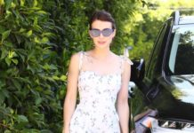 Emma Roberts in a Floral Midi Dress