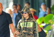 Jennifer Lopez in a Camo Sweatsuit – New York