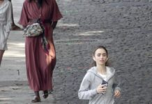 """Lily Collins – Filming """"Emily in Paris"""""""