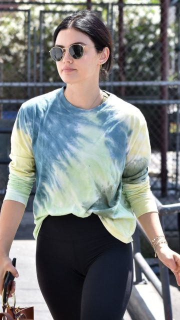 Lucy Hale in Tie-Dye Top and Skintight Leggings
