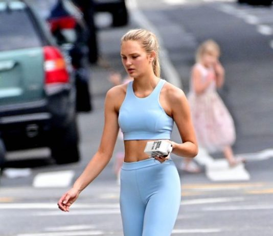 Romee Strijd in a Baby Blue Set – NYC