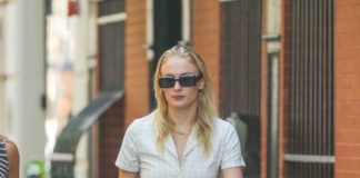 Sophie Turner Shows Off Her Legs in Jeans Shorts