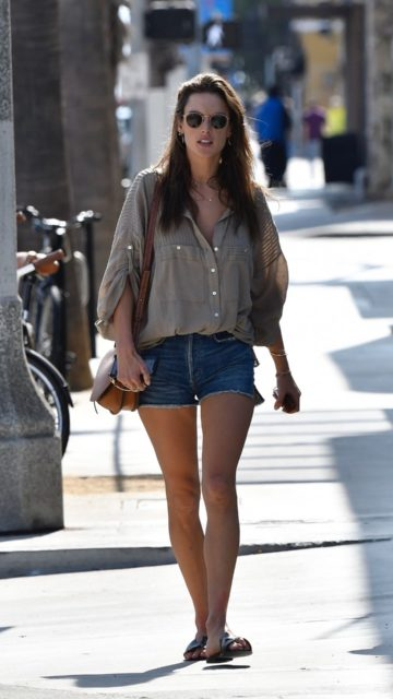 Alessandra Ambrosio in Denim Shorts