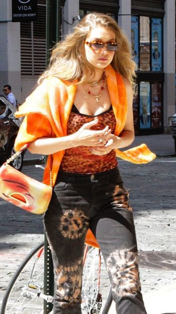 Gigi Hadid in Leopard Top and Tie-Dye Jeans – NYC