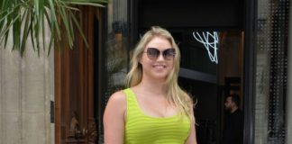 Iskra Lawrence in a Tight Lime Green Dress