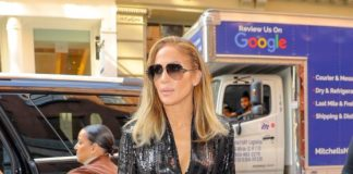 Jennifer Lopez in Black Sequin Jumpsuit – NYC
