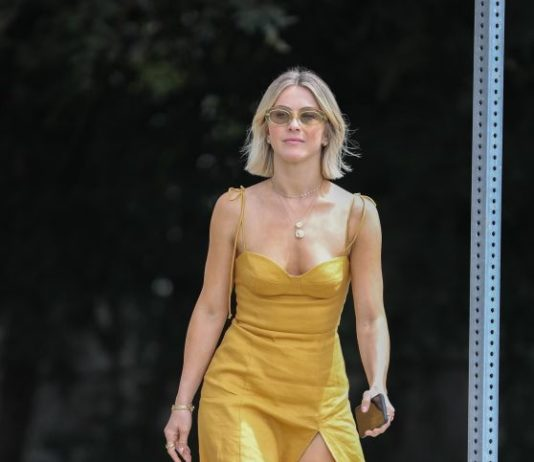Julianne Hough in a Gold Leather Dress