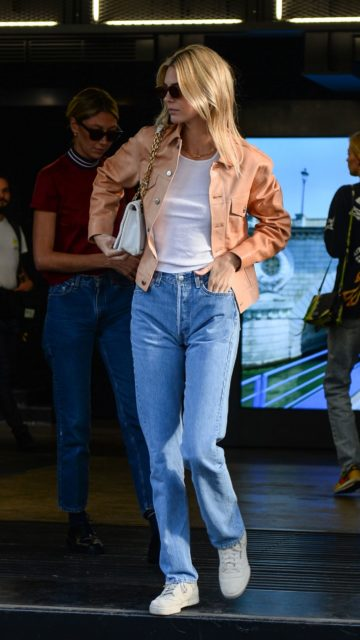 Kendall Jenner in an Orange Jacket and Straight-Leg Jeans