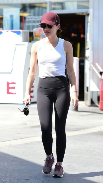 Lucy Hale at a Gas Station in Los Angeles