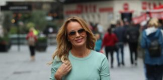 Amanda Holden in Pastel Green Top – Exits Heart Radio Show in London