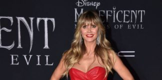 "Heidi Klum in Strapless Red Mini Dress – ""Maleficent: Mistress of Evil"" Premiere in LA"