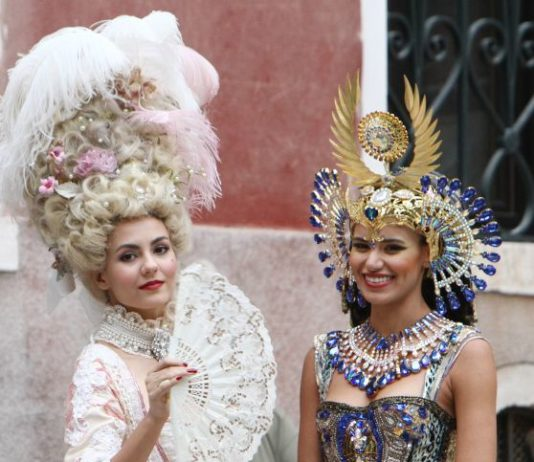 Victoria Justice and Madison Reed – Wearing Venice Carnival Costumes in Venice