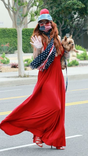 Phoebe Price Cover Face With a American Scarf and Mask