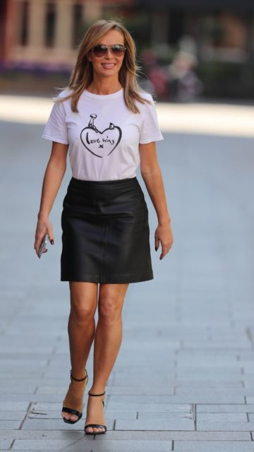 Amanda Holden in Comic Relief's Love Wins T-Shirt and a Black Leather Mini-Skirt