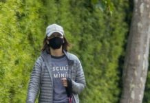 Calista Flockhart – Walks out with Her Dogs in LA