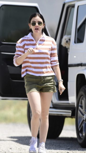 Lucy Hale Wear Leggy in Shorts at Los Angeles