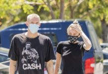 Miley Cyrus and Cody Simpson Looks At 10 Speed Coffee in Woodland Hills