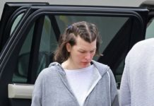 Milla Jovovich Step Out at a Friend's House in LA